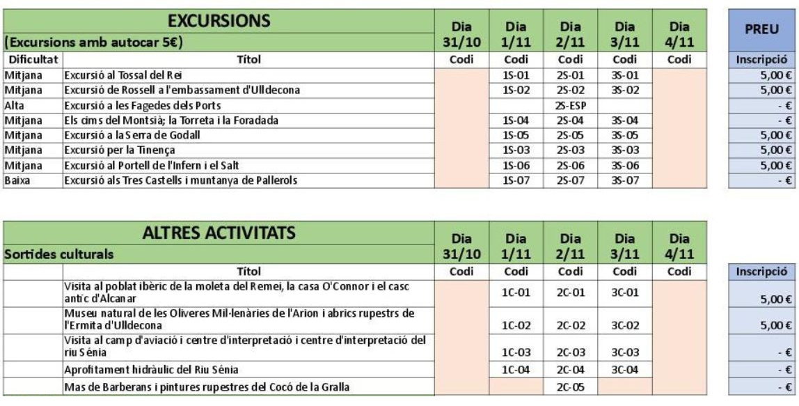 calendari d'excursions 42 Aplec